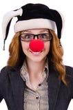 Pagliaccio divertente della donna Fotografia Stock Libera da Diritti