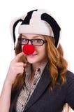 Pagliaccio divertente della donna isolato Fotografia Stock