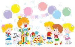 Pagliaccio e bambini di circo illustrazione vettoriale