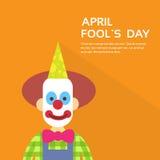 Pagliaccio Face First April Day, concetto di festa dello sciocco con lo spazio della copia illustrazione vettoriale