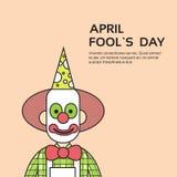 Pagliaccio Face First April Day, concetto di festa dello sciocco con lo spazio della copia illustrazione di stock