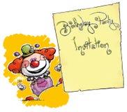 Pagliaccio Holding Invitation-Birthday Party Immagini Stock Libere da Diritti