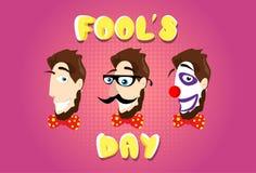 Pagliaccio Make Up First April Fool Day del farfallino di vetro dei baffi della finta di testa dell'uomo royalty illustrazione gratis