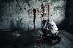 Pagliaccio-maniaco sanguinoso con l'ascia Immagine Stock Libera da Diritti