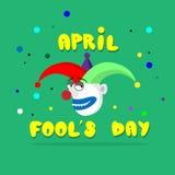 Pagliaccio pazzo Face First April Day, concetto di festa dello sciocco illustrazione vettoriale