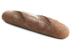 Pagnotta del pane di segale nero con farina Fotografia Stock Libera da Diritti