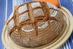 Pagnotta del pane di segale sulla zolla Immagini Stock