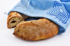 Pagnotta del pane e sacchetto del cotone Fotografia Stock Libera da Diritti