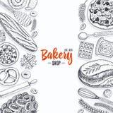 Pagnotta della ciambella della pasticceria e del pane e torta lunghe della frutta panino o croissant dolce, muffin e pani tostati Fotografia Stock