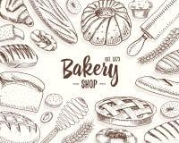 Pagnotta della ciambella della pasticceria e del pane e torta lunghe della frutta panino o croissant dolce, muffin e pani tostati Immagini Stock