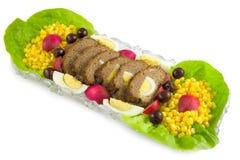 Pagnotta di carne con le uova e le verdure Fotografie Stock