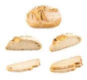 Pagnotta di pane bianca isolata su bianco Fotografia Stock Libera da Diritti
