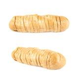 Pagnotta di pane bianca isolata su bianco Fotografia Stock