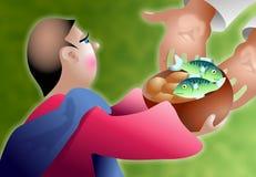 Pagnotte e pesci illustrazione vettoriale