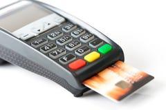 Pago con tarjeta de crédito, productos de la compra y servicio Foto de archivo libre de regalías