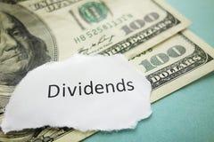 Pago de dividendos Imagen de archivo libre de regalías