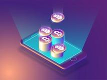 Pago de la moneda de Bitcoin y concepto en línea de la cartera Pantalla elegante del teléfono con el dinero Diseño del ejemplo 3d Imagen de archivo libre de regalías