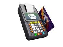 Pago de mercancías por el terminal con la tarjeta de crédito 3d no rendir en el fondo blanco ninguna sombra libre illustration