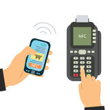 Pago del teléfono móvil en tiendas con el sistema del nfc Detalle del terminal y del móvil de la posición Visión superior stock de ilustración