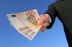 Pago en euros Imagen de archivo libre de regalías