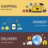 Pago en línea de las compras de Internet y iconos planos s del concepto de la entrega Fotos de archivo
