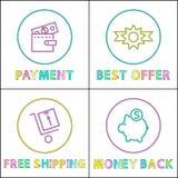 Pago en línea, la mejor oferta y restituir iconos stock de ilustración