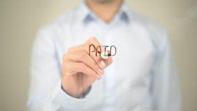 Pago, escrita do homem na tela transparente Imagens de Stock Royalty Free