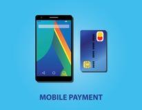 Pago móvil con la tarjeta del smartphone y de crédito Imagen de archivo