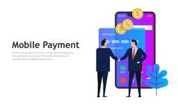 Pago móvil, concepto del negocio de la transacción del teléfono que hace compras elegante en línea fotos de archivo libres de regalías