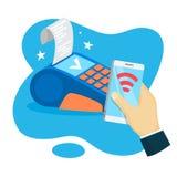 Pago móvil Transacción del dinero de Digitaces a través del dispositivo ilustración del vector