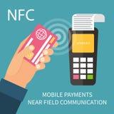 Pago móvil usando el smartphone, actividades bancarias en línea Fotografía de archivo libre de regalías