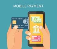 Pago móvil usando el smartphone, actividades bancarias en línea Imagen de archivo