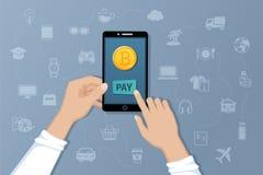 Pago por Bitcoins Pague bienes y servicios por moneda crypto Transferencias del international del servicio del pago Fotos de archivo libres de regalías