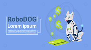 Pago robótico de Sit With Credit Card Mobile del perro para la inteligencia artificial de las compras del animal doméstico modern Fotografía de archivo libre de regalías
