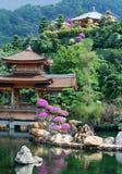 Pagod av den asiatiska templet och dammet Arkivfoto