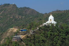 Pagod för världsfred i Pokhara Nepal arkivbild