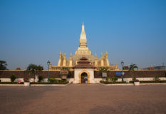 Pagod Wat Pha That Luang Vientian Arkivfoto