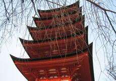 Pagoda. Looking up at a pagoda in Miyajima, Japan royalty free stock images