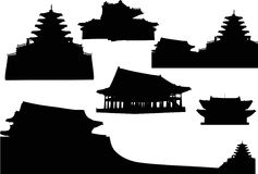 силуэты pagoda установленные Стоковое Изображение