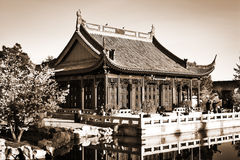 Pagoda. Chinese pagoda near a lake. Sepia Stock Photos