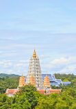 Pagoda. White pagoda in thai temple and tree royalty free stock image