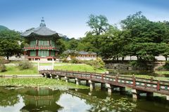 Pagoda. Typical asiatic pagoda with pond and little bridge by a nice summer day royalty free stock photography