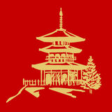 Pagoda. Illustration of a pagoda in gold and red colors royalty free illustration