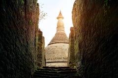 Pagoda in ancient ruins  temple in Mrauk-U city Royalty Free Stock Photo