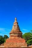 Pagoda. Ancient stupas made ​​of brick backdrop is sky blue Royalty Free Stock Photo