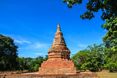Pagoda. Ancient stupas made ​​of brick backdrop is sky blue Stock Photography