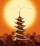 Pagoda au coucher du soleil Images stock