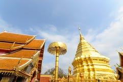 Pagoda av det Doisuthep tempelet i Chiang Mai Thailand Arkivfoto