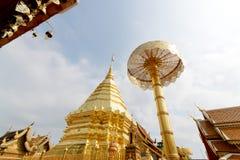 Pagoda av det Doisuthep tempelet Thailand Arkivfoto