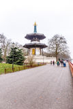 Pagoda in Battersea park in winter stock photography